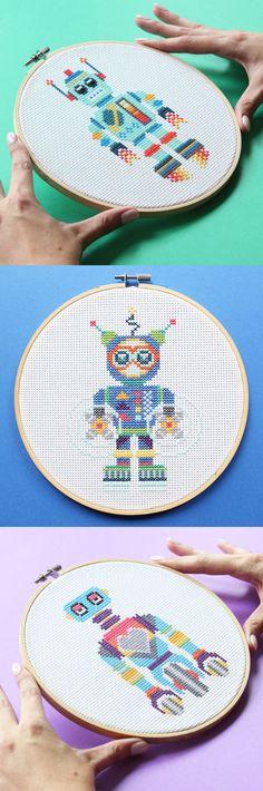 Cross stitch robot kits! So fun! #crossstitch #geekycrossstitch