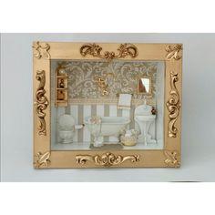 Quadro cenário para banheiro, Miniatura de banheiro com peças em resina e MDF pintadas, detalhes criados exclusivos da Mini Mondo Moldura dourada envelhecida com apliques em resina Pode ser feito de outras cores