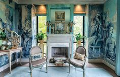 Creative. Dressing room of Ruth Wilkinson. Wallpaper based on painting by Elizabeth Duquette.  Designer: Hutton Wilkinson.