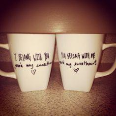 Couple Coffee Mugs Customizable by thebeezeknees on Etsy, $28.00