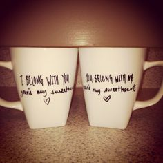 """""""And I never saw you coming... and I'll never be the same""""  Couple Coffee Mugs Customizable on Etsy, $28.00"""