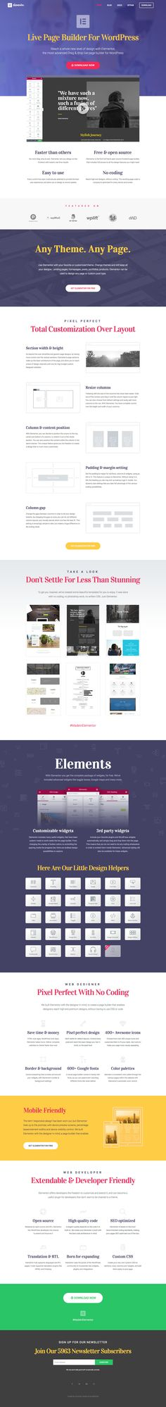 Smart One Pager showcasing the features of the 'Elementor' Page Builder WordPress plugin. Really like how they used the plugin to create this very landing page.