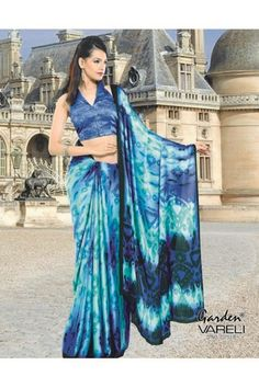 Buy Class Apart #Blue #Crepe #Saree Online India at Just Rs.1,211/-