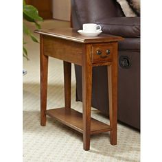 Hardwood 10 Inch Chairside End Table in Medium Oak - End Tables at Hayneedle Oak End Tables, Small End Tables, Narrow Table, Side Tables, Rustic Side Table, Small Bench, Wood Tables, Small Sofa, Console Tables