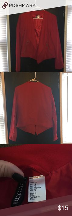 H&M blazer H&M red blazer ! Two front zippered pockets ! Bright red. H&M Jackets & Coats Blazers
