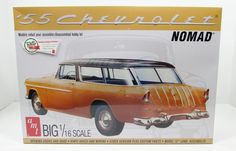 "This 1955 Chevy Nomad Wagon is made by AMT in large 1/16 scale. Includes: Opening doors and hood Vinyl hoses and wiring Stock version plus custom parts 12"" lo"