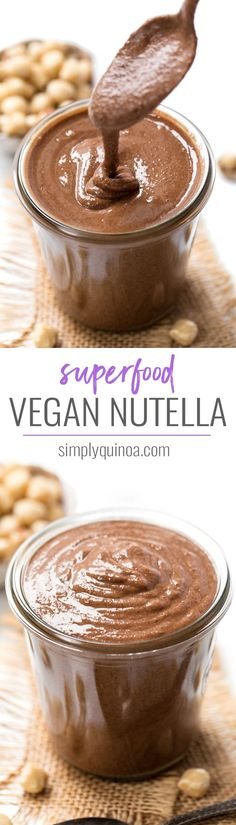 The Rise Of Private Label Brands In The Retail Meals Current Market This Superfood Vegan Nutella Recipe Combines Hazelnuts With Amazing Superfoods To Get A Healthy, Delicious And Decadent Twist On This Classic Junk Food Vegan Sweets, Vegan Snacks, Yummy Snacks, Yummy Food, Vegan Desserts, Vegan Food, Vegan Quesadilla, Nutella Recipes, Nutella Vegan