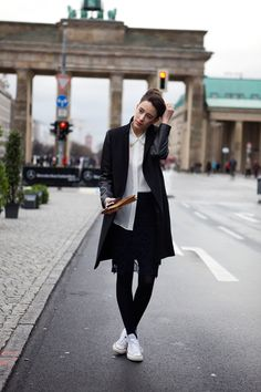 Head to Toe, esp. the Black tights w/White Converse (found via A Merry Mishap)