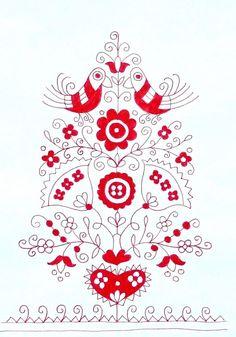 Folk Embroidery Patterns Life of tree - do it yourself - embroidery set Hungarian Embroidery, Folk Embroidery, Hand Embroidery Patterns, Cross Stitch Embroidery, Folklore, Lesage, Chain Stitch, Flower Art, Needlework