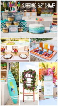 "What a stunning surfboard baby shower! This shower is filled with beautiful surfing ""baby on board"" party ideas."