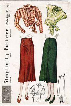 Simplicity 2226 1930s vintage sewing pattern blouse & skirt set