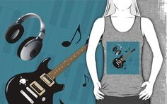 #BluePianoKeys #BlackElectricGuitar #UnisexGrayTankTop by #MoonDreamsMusic