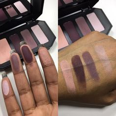 Swatches of Kat Von D Shade & Light Eye Contour Quad in Plum. Available at @sephora online and in a few stores now.  #sephora #KVD #katvondbeauty #shadeandlight #shadeandlighteyecontourpalette #shadeandlighteye #bblogger #swatches