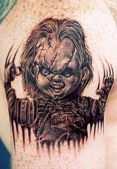 Chuckie horror tattoo - http://99tattoodesigns.com/chuckie-horror-tattoo/