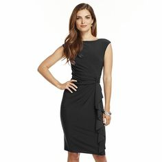 Chaps Solid Ruffle Knot-Front Dress - Petite