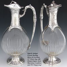 Antique French Sterling Silver & Cut Glass 11 Claret Jug, Empire Style w/ Engraving