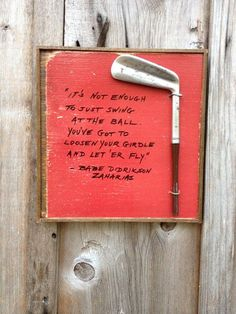 """These are one-of-a-kind gifts for the golfer in your life. If you are looking for the perfect gift for the golfer on your list, look no further. Each plaque is made with vintage salvaged wood and a vintage golf club head with a quote from a famous golfer. Some quotes are humorous, some inspirational. These are roughly 9"""" x 12"""" in size, and have a saw tooth hanger mounted on the back for easy wall... * You can get more details by clicking on the image. #nikegolf"""
