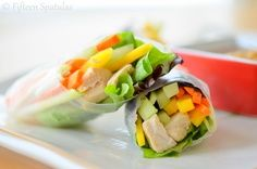 Fresh Spring Rolls with Peanut Dipping Sauce by fifteenspatulas: #Healthy #Spring_Rolls