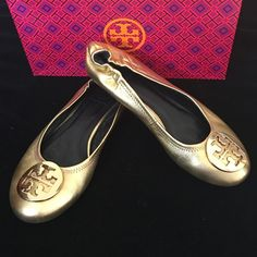 16ae48e878 Tory Burch Gold Reva Ballet Shoes Looks New Tory Burch Authentic Gorgeous  Saharan Gold Reva Ballet