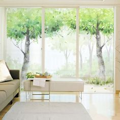 Decorative self adhesive/static cling frosted stained window film custom sticker living room balcony glass decals frosted trees