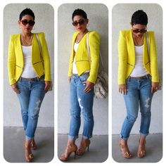 gold jewelry + yellow blazer + white top + jeans + leopard