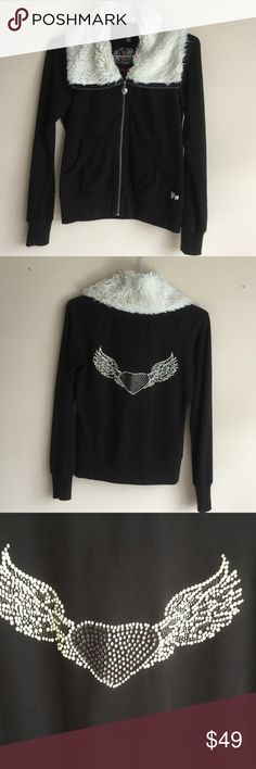 Brand new twisted heart warm top Beautiful warm twisted heart black and faux fur collar easy to wear great with geans TWISTED HEART Jackets & Coats