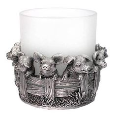 Pig Frosted/Pewter Candle Holder