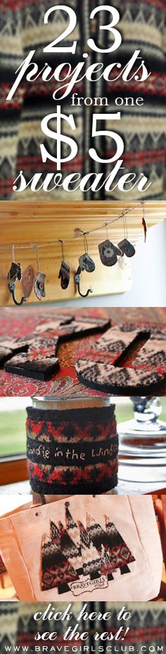 23 Amazingly Creative Projects from one $5 Thrift Store Sweater!