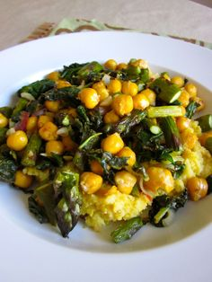 Roasted Asparagus & Chickpeas with Sautéed Spinach from Cadry's Kitchen - a hearty side with some of our favorite veggies. #SideofOXO