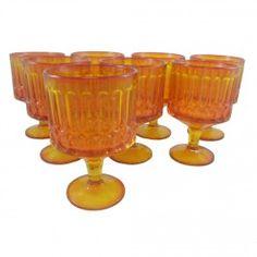 Mid-Century Orange Glass Goblets, Set of 8 on MixxCentury.com/store/retroda