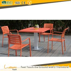 New design aluminum powder-coated outdoor furniture 4 chairs table set for restaurant furniture