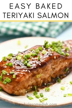 Teriyaki Baked Salmon – Everyone loves this easy fish recipe. Salmon gets marinated in homemade teriyaki sauce, baked, then brushed with teriyaki glaze. Best Picture For frying fish air fryer For Your Easy Fish Recipes, Tilapia Recipes, Baked Salmon Recipes, Seafood Recipes, Healthy Dinner Recipes, Cooking Recipes, Zesty Salmon Recipe, White Fish Recipes, Salmon Dishes