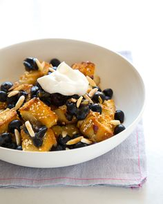 Honey-Sesame Dessert Panzanella with Mashed Blueberries & Toasted Almonds | VIA Sweet Paul Magazine