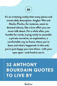 We're celebrating Bourdain Day on June 25 with our favorite Anthony Bourdain quotes, nuggets of wisdom about food, travel and life. #anthony #bourdain #quotes Anthony Bourdain Quotes, Chef Quotes, Food Quotes, Love Affair, Daily Inspiration, Quotes To Live By, Poems, Celebrity Quotes, Chef Food