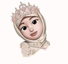Wallpaper Fofos Coroa Ideas For 2019 Hijabi Girl, Girl Hijab, Girl Cartoon, Cartoon Art, Emoji Photo, Emoji Wallpaper Iphone, Hijab Drawing, Islamic Cartoon, Girl Emoji