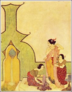 Edmund Dulac - Sinbad the Sailor, originally published as part of The Arabian Nights, 1907 - Alladin: The lady at her bath