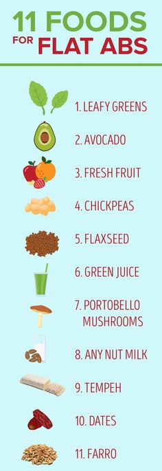 Chickpeas, flaxseed, avocado, fresh fruit and green juice are just some of the foods that can help you get flat abs. #plantbased #diet