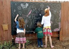 DIY Backyard Chalkboard - easy to put together! Get a large piece of birch plywood, prime it, and paint on 3 coats of chalkboard paint. Then just add a bucket of chalk! Backyard Hammock, Backyard Trees, Outdoor Hammock, Backyard Playground, Backyard For Kids, Backyard Bbq, Backyard Projects, Outdoor Fun, Outdoor Decor