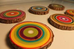 Eco Friendly Reclaimed Wooden Coasters - set of 6 coasters - by Earth By Wendy ($32.00), via Etsy.