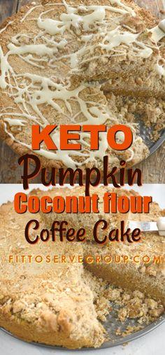 Keto Pumpkin Coconut Flour Coffee Cake, a recipe that has all this season's pumpkin spice flavors minus the high carbs. This delicious keto pumpkin coffee cake is made with coconut flour making it No Bread Diet, Best Keto Bread, Keto Cake, Keto Foods, Keto Recipes, Healthy Recipes, Snacks Recipes, Bread Recipes, Dessert Recipes