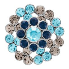 Product # S0421 Grand Flower Grey/Blue Snap  Grand Flower Grey/Blue Snap. 18mm size.