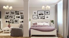 Обычно в однокомнатных квартирах нет места для устройства отдельной спальни, и место для сна приходится на разложенный на ночь диван в гостиной. Дизайн-студия BRO предлагает интересный интерьер однокомнатной квартиры со спальней, показывающий, каким образом можно реализовать полноценную спальню даже в стесненных условиях. При этом нет надобности сносить перегородки и превращать квартиру в студию - кухня при этом не затрагивается, и остается изолированной от остального пространства…