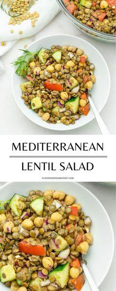 Mediterranean Lentil Salad   Plant-Based on a Budget   #lentil #salad #mediterranean #healthy #vegan #plantbasedonabudget