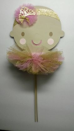 Princess ballerina centerpiece pink and gold by fourDOLLYSboutique