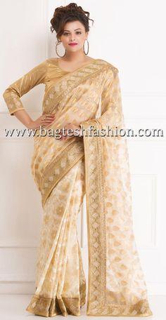 Golden Cream Super Net Jacquard #Saree #bridalsaree #weddingsaree #Sarees #sari