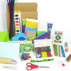 Our Creativity Art Box is chock full of eco-friendly art supplies like felt stickers, eco-paint, recycled cards and envelopes, pom-poms, recycled felt, glue, recycled crayons, pipe cleaners, recycled paper, craft scissors, wooden buttons, beads, craft sticks, and more. Just add imagination for tons of potential projects! Just $24.95!