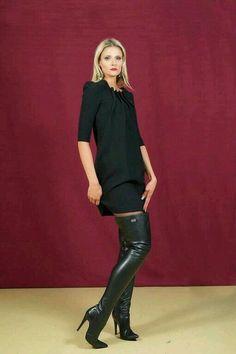 Blonde modeling black knit minidress and black thigh boots #highheelbootsknee