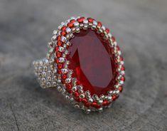 red glass ring, ruby glass ring, beaded ring, SEED BEAD ring, woven ring, boho ring, BEADWORK art, ring for her, victorian handmade