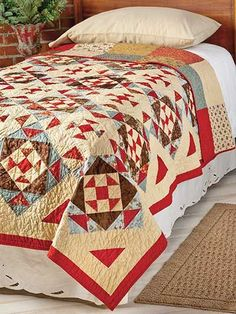 Quilting - Bed Quilt Patterns - Patterns for Classic Designs - Diamonds in the Rough Quilting Pattern Colchas Quilting, Scrappy Quilts, Quilting Projects, Quilting Designs, Quilting Ideas, Quilt Bedding, Linen Bedding, Bedding Sets, Bed Linens