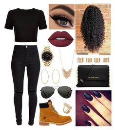 """Day out with friends"" by leilani14 on Polyvore featuring Ted Baker, New Look, Timberland, Lime Crime, Forever 21, Nixon, Maison Margiela, Loren Stewart, MICHAEL Michael Kors and Topshop"